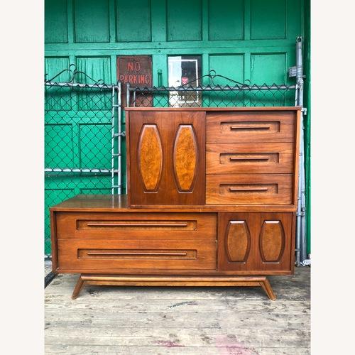 Used Mid Century Dresser with Burlwood & Glass for sale on AptDeco