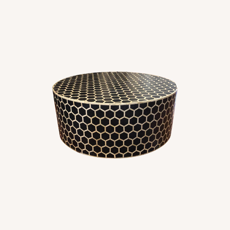 West Elm Bone Inlay Honeycomb Round Coffee Table - image-0