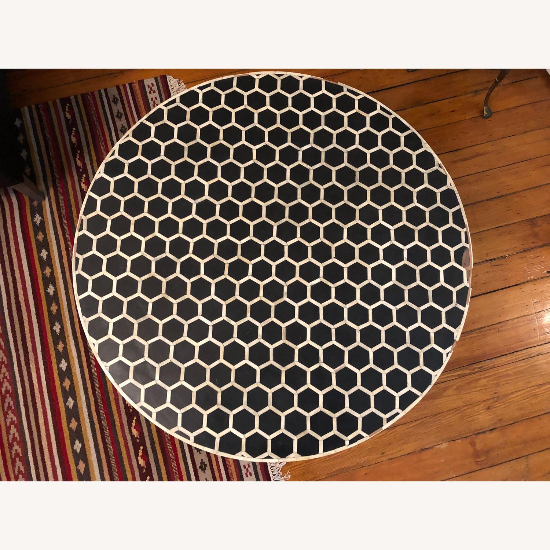 West Elm Bone Inlay Honeycomb Round Coffee Table - image-11