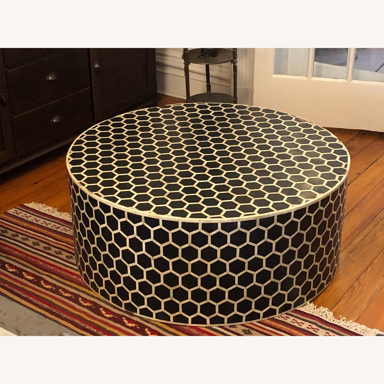 West Elm Bone Inlay Honeycomb Round Coffee Table - image-5