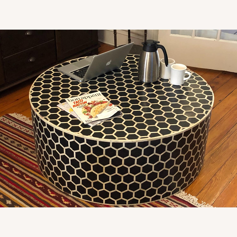 West Elm Bone Inlay Honeycomb Round Coffee Table - image-2