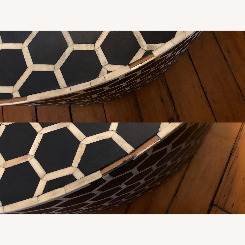 West Elm Bone Inlay Honeycomb Round Coffee Table - image-12