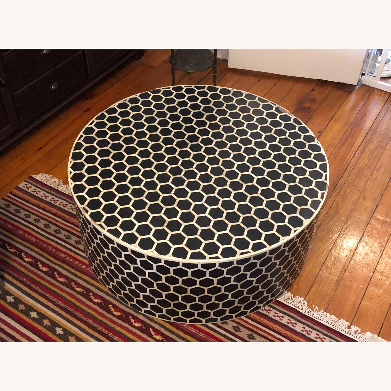 West Elm Bone Inlay Honeycomb Round Coffee Table - image-8