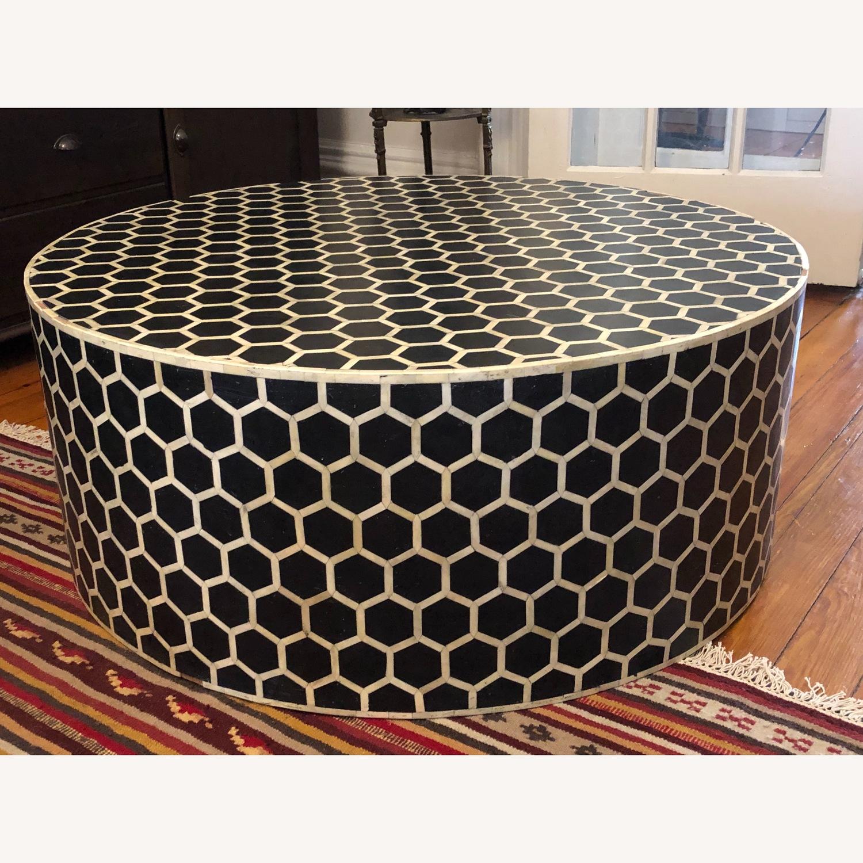 West Elm Bone Inlay Honeycomb Round Coffee Table - image-1