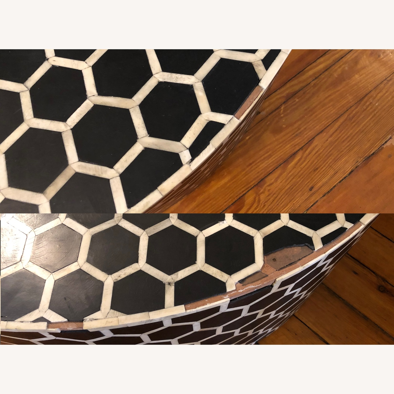 West Elm Bone Inlay Honeycomb Round Coffee Table - image-10