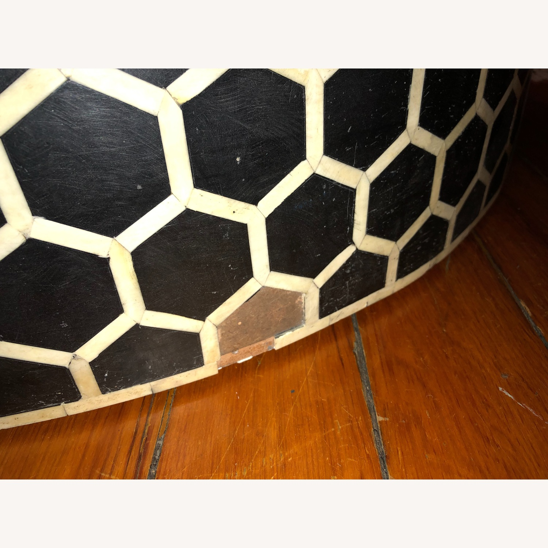 West Elm Bone Inlay Honeycomb Round Coffee Table - image-9