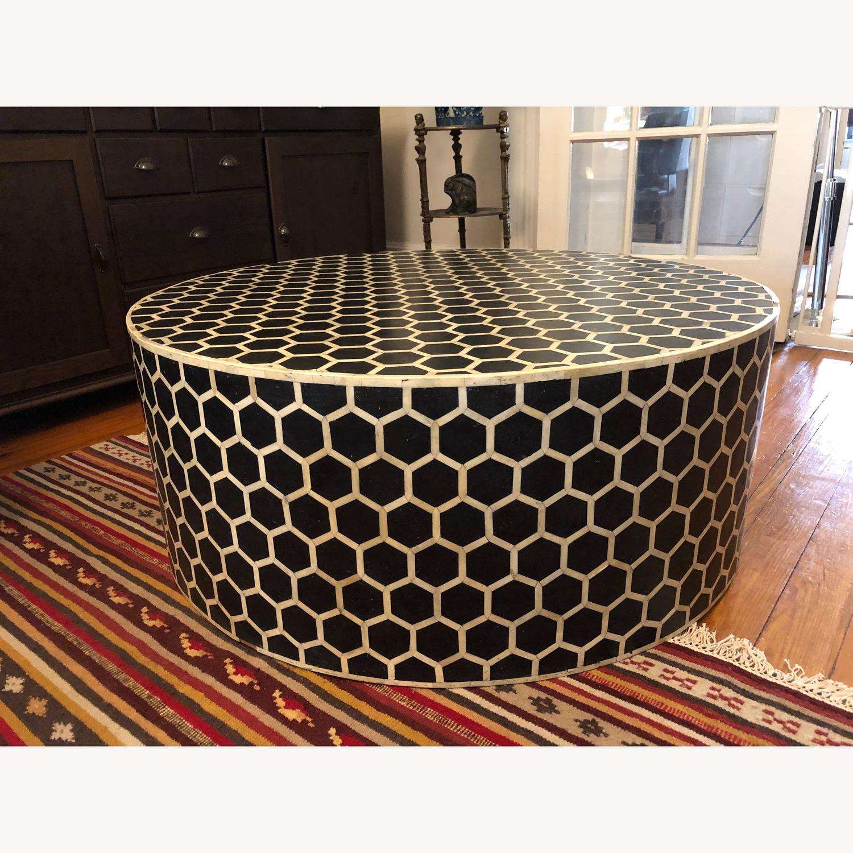 West Elm Bone Inlay Honeycomb Round Coffee Table - image-7