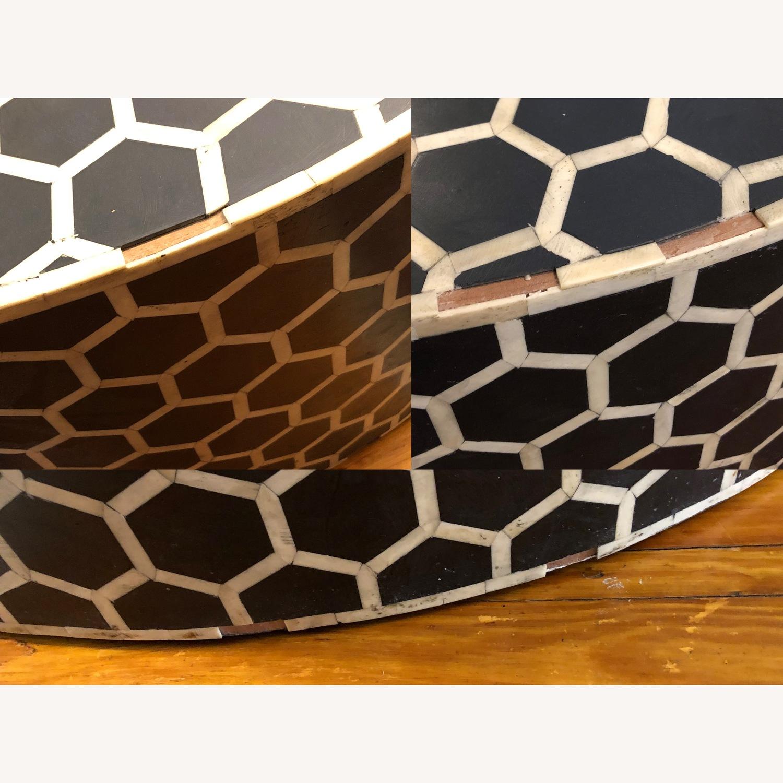West Elm Bone Inlay Honeycomb Round Coffee Table - image-4