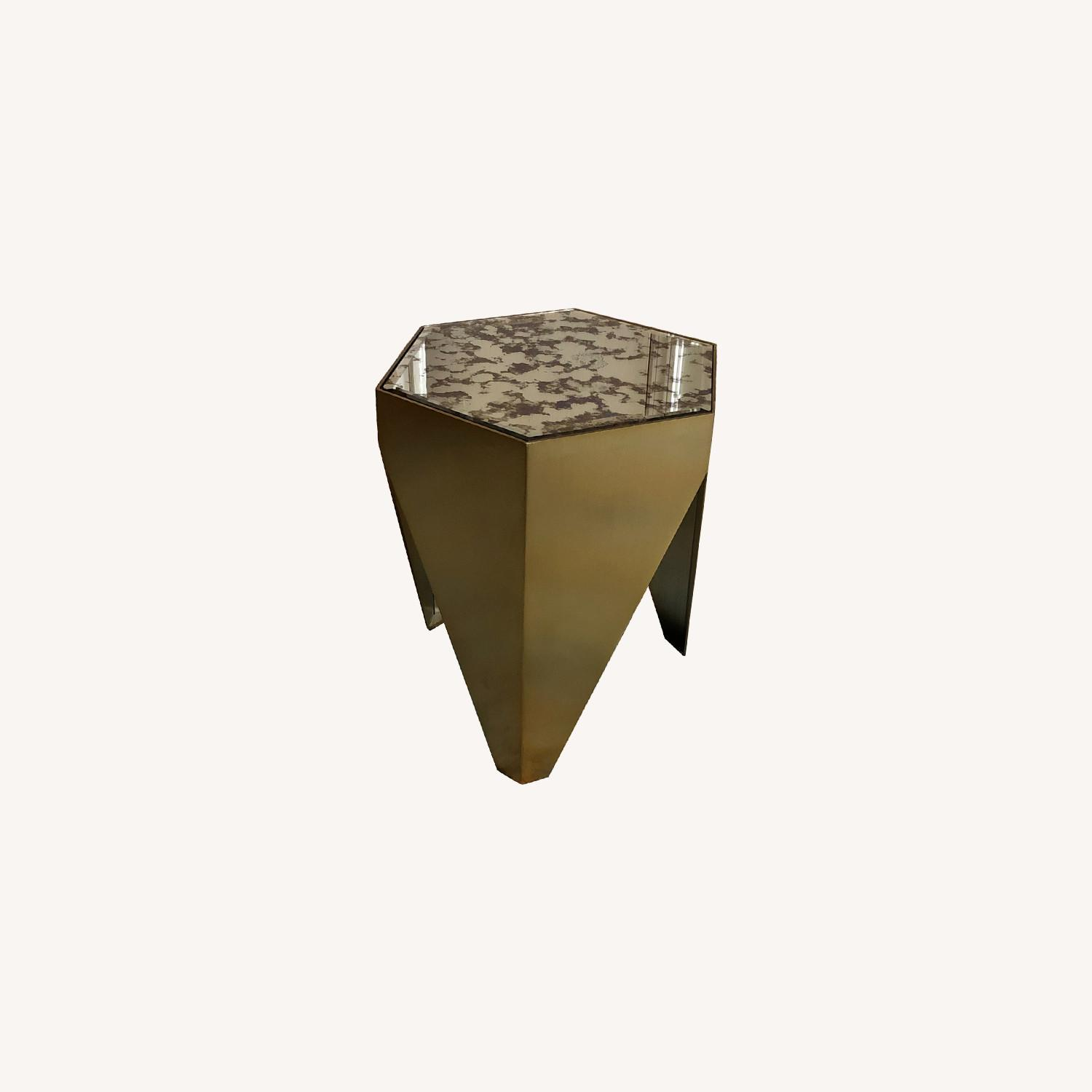 Hexagonal Glass and Brass-Tone Metallic Side Table - image-0