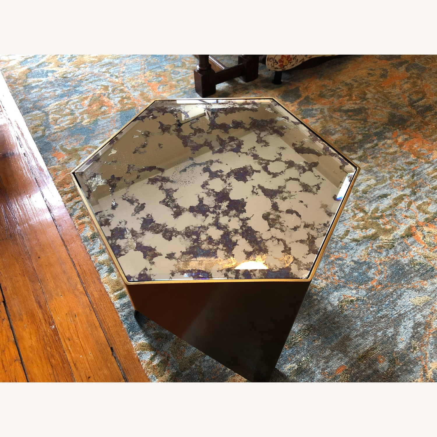 Hexagonal Glass and Brass-Tone Metallic Side Table - image-10