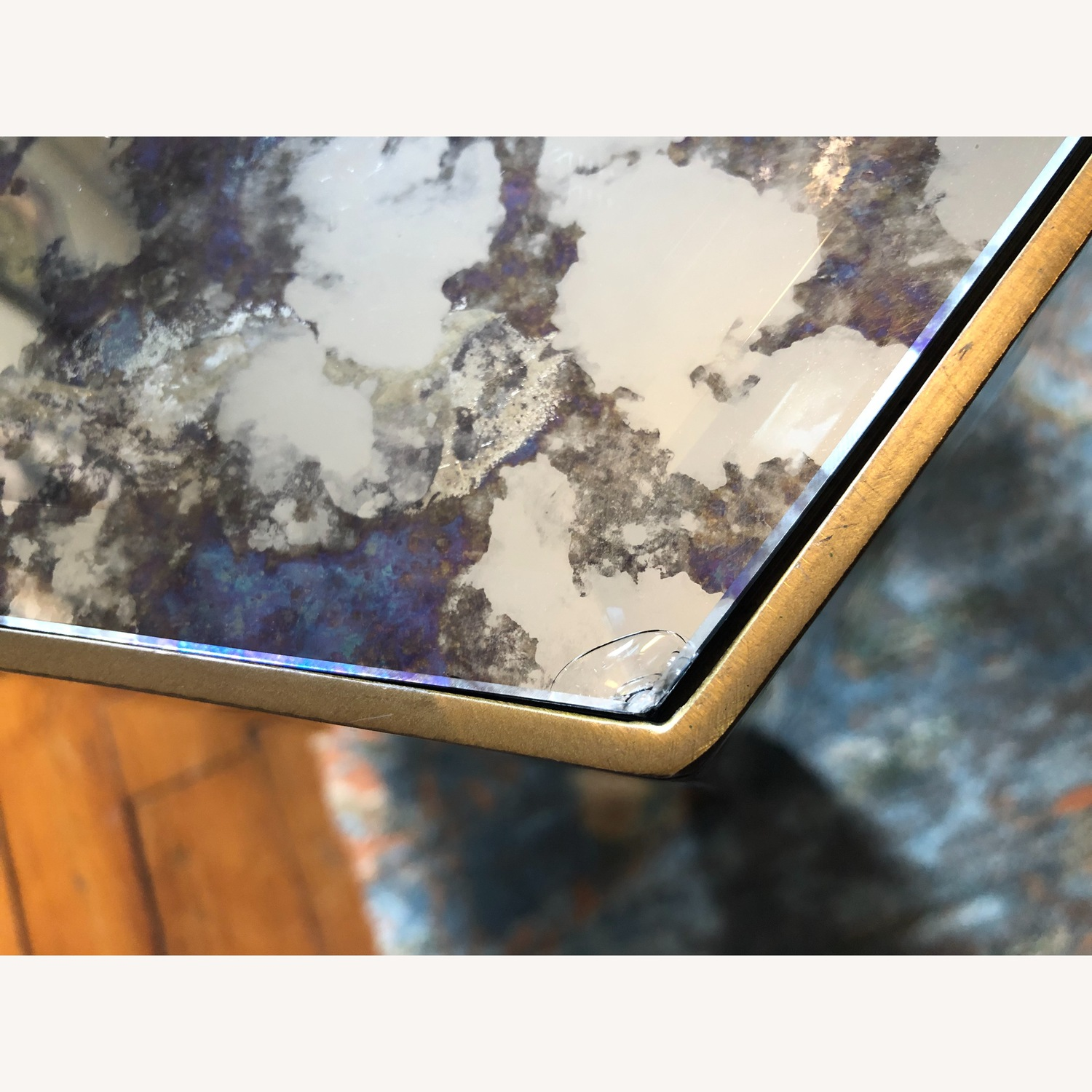 Hexagonal Glass and Brass-Tone Metallic Side Table - image-6