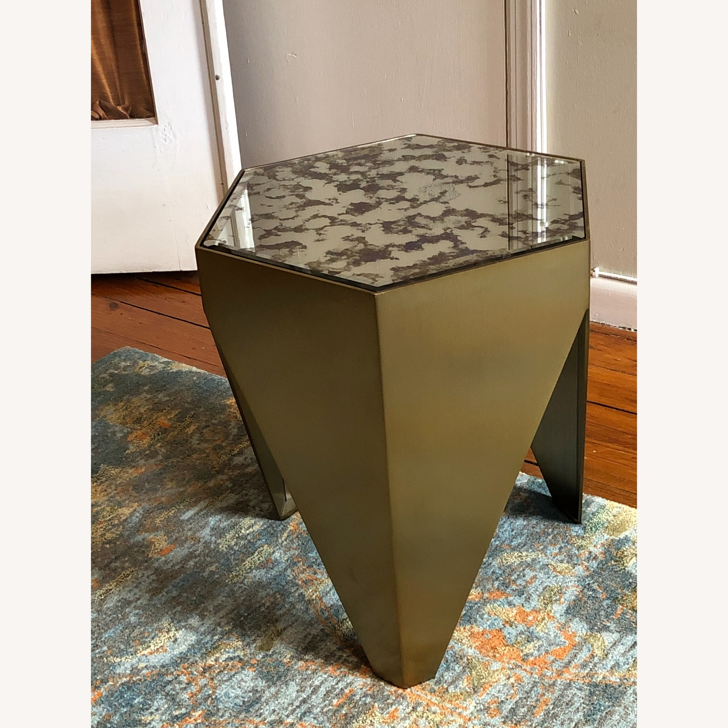 Hexagonal Glass and Brass-Tone Metallic Side Table - image-3