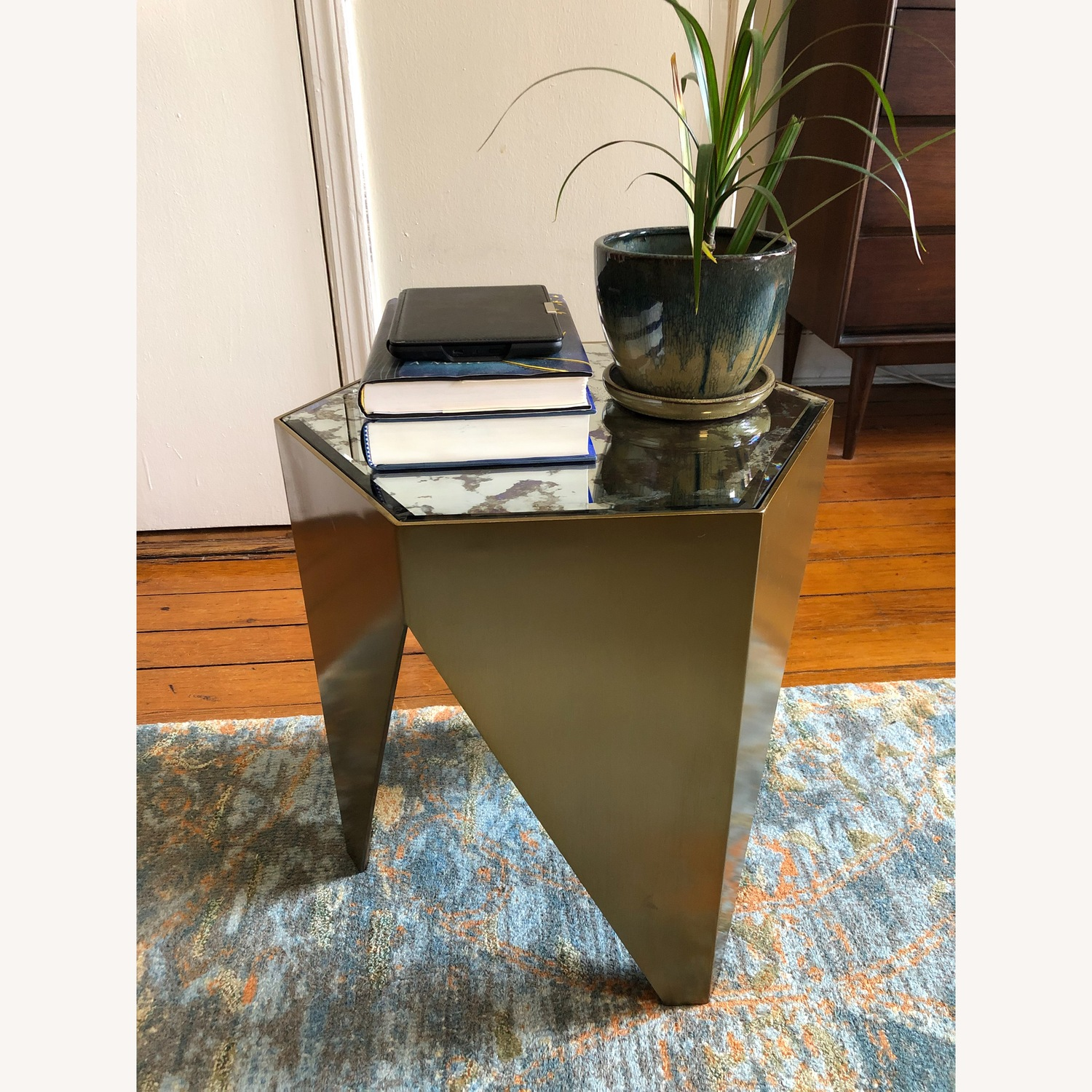 Hexagonal Glass and Brass-Tone Metallic Side Table - image-1