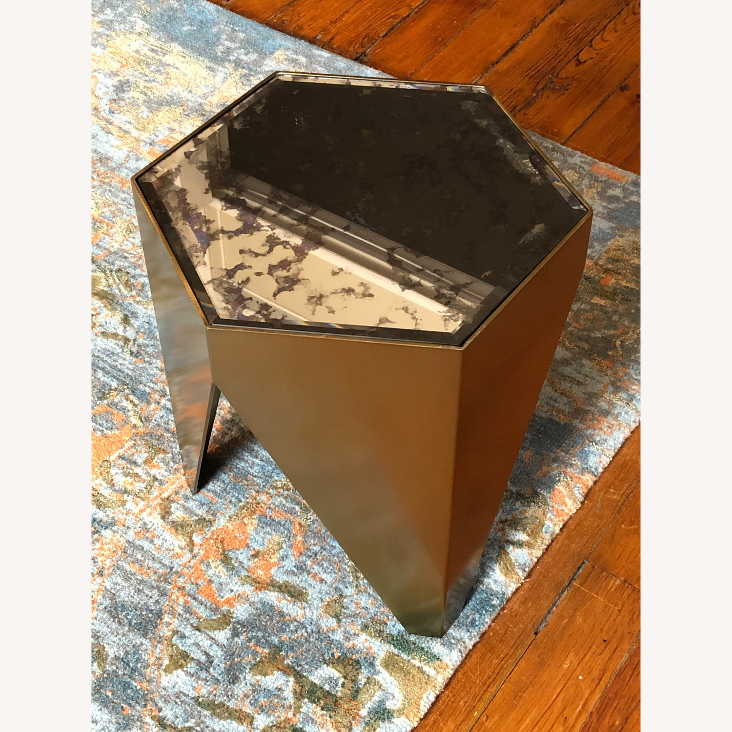 Hexagonal Glass and Brass-Tone Metallic Side Table - image-5