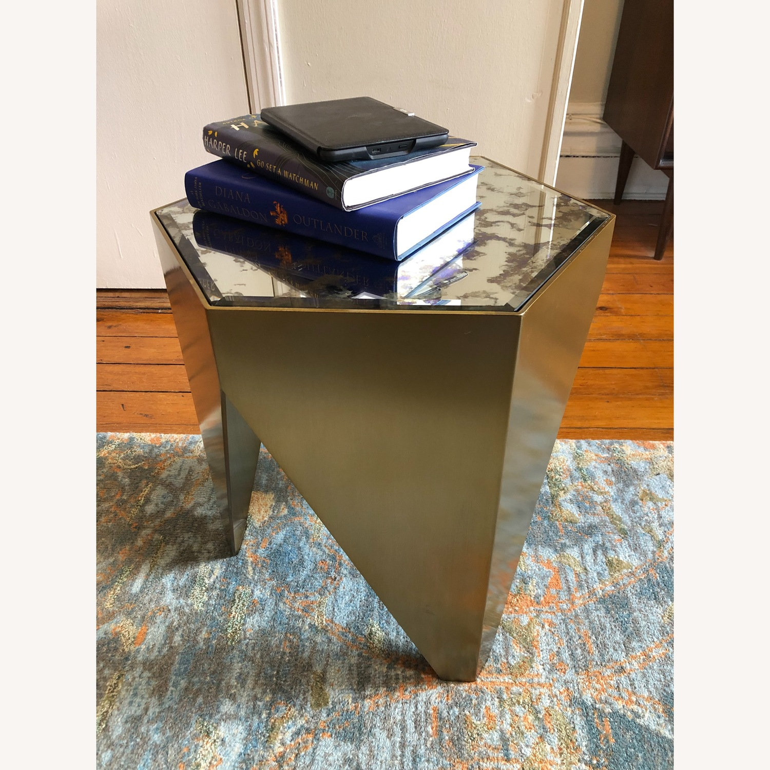 Hexagonal Glass and Brass-Tone Metallic Side Table - image-2