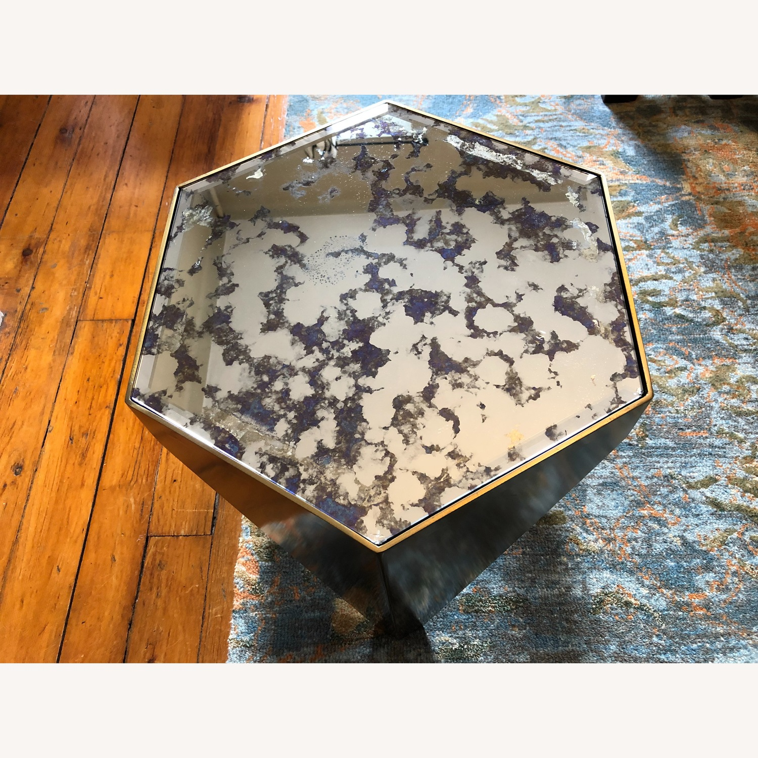 Hexagonal Glass and Brass-Tone Metallic Side Table - image-8