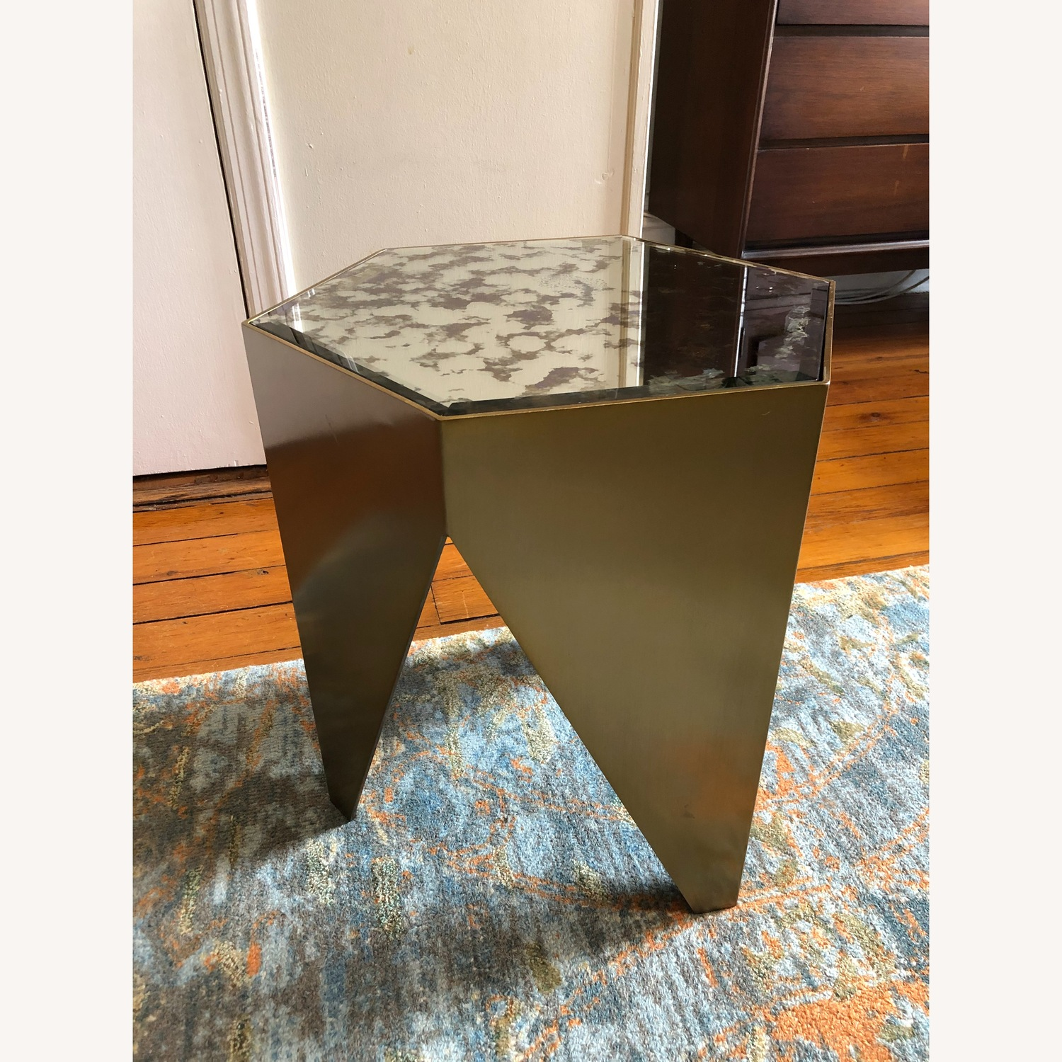 Hexagonal Glass and Brass-Tone Metallic Side Table - image-4
