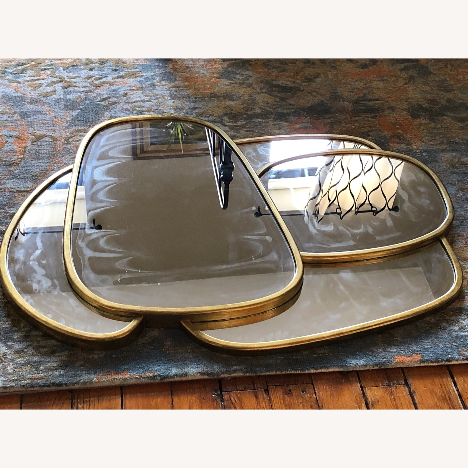 Organic Forms Shapes Gold Leaf Mirror - image-3