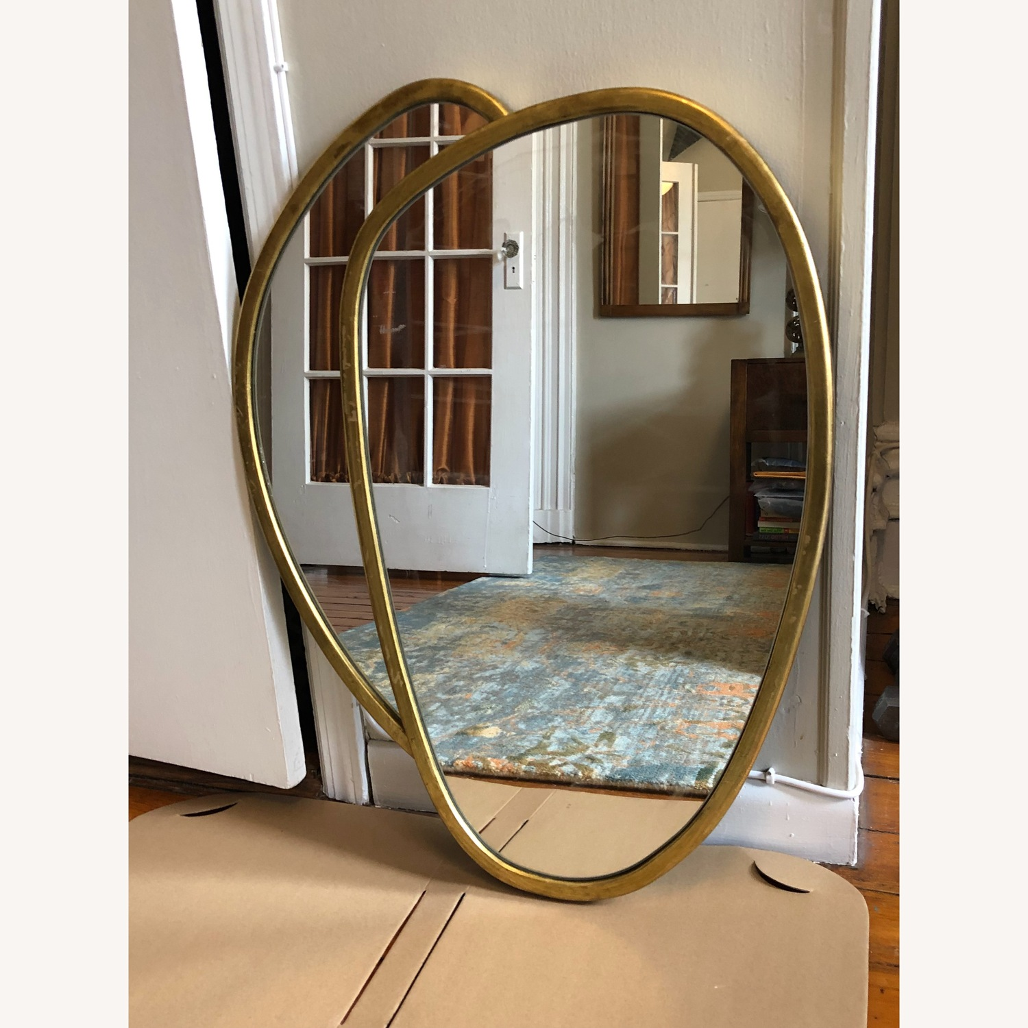 Organic Forms Shapes Gold Leaf Mirror - image-1