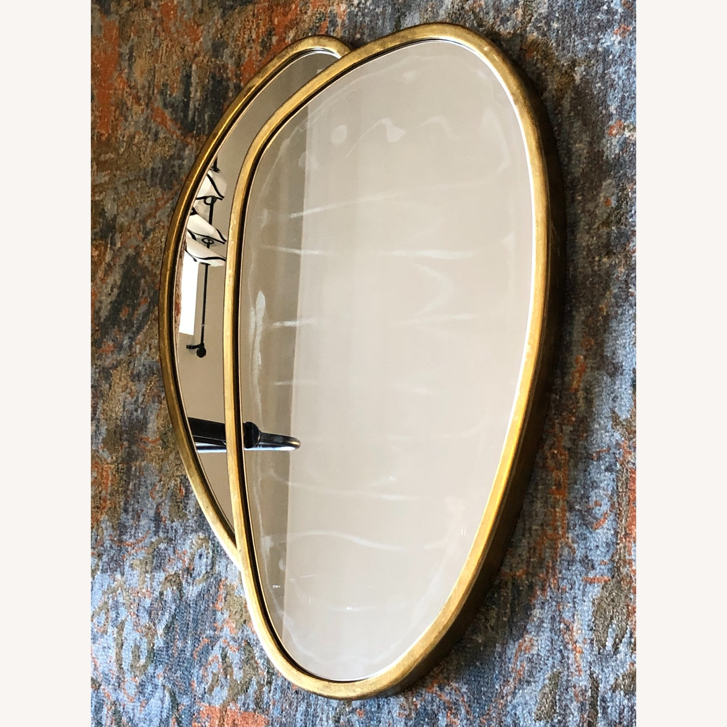 Organic Forms Shapes Gold Leaf Mirror - image-5