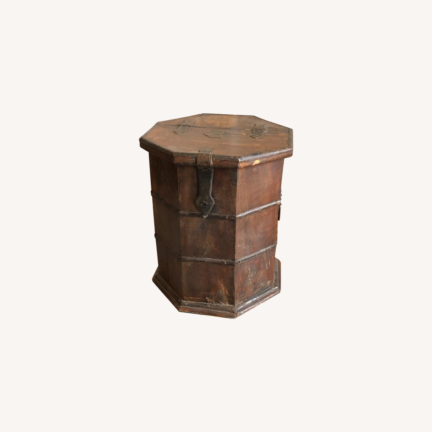 Vintage Octagonal Side Table Trunk with Storage - image-0
