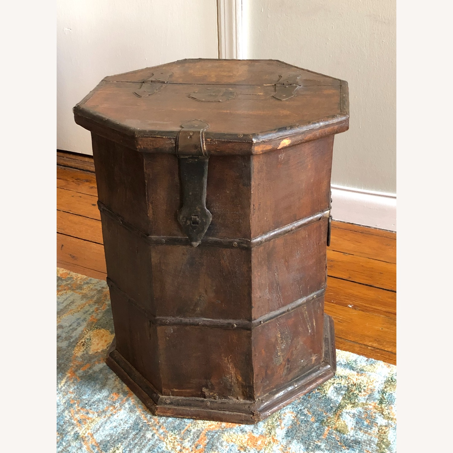 Vintage Octagonal Side Table Trunk with Storage - image-1