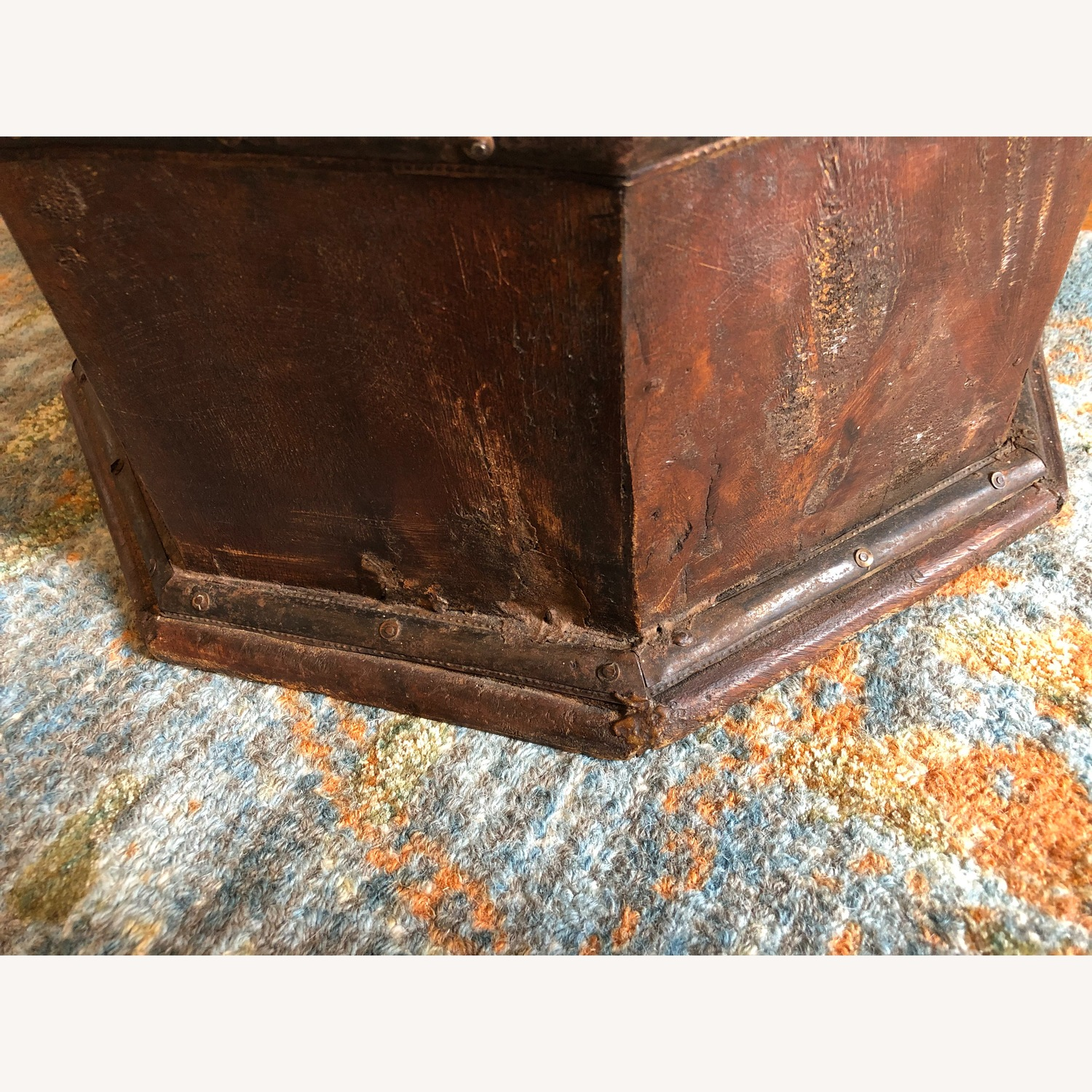 Vintage Octagonal Side Table Trunk with Storage - image-9