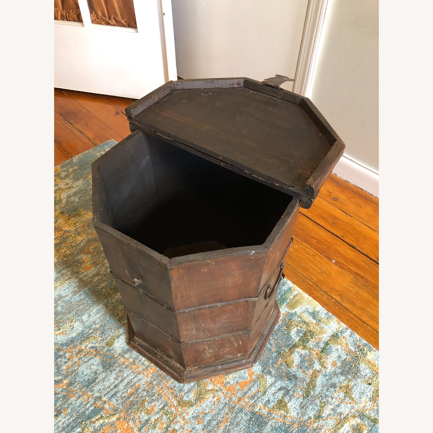 Vintage Octagonal Side Table Trunk with Storage - image-7