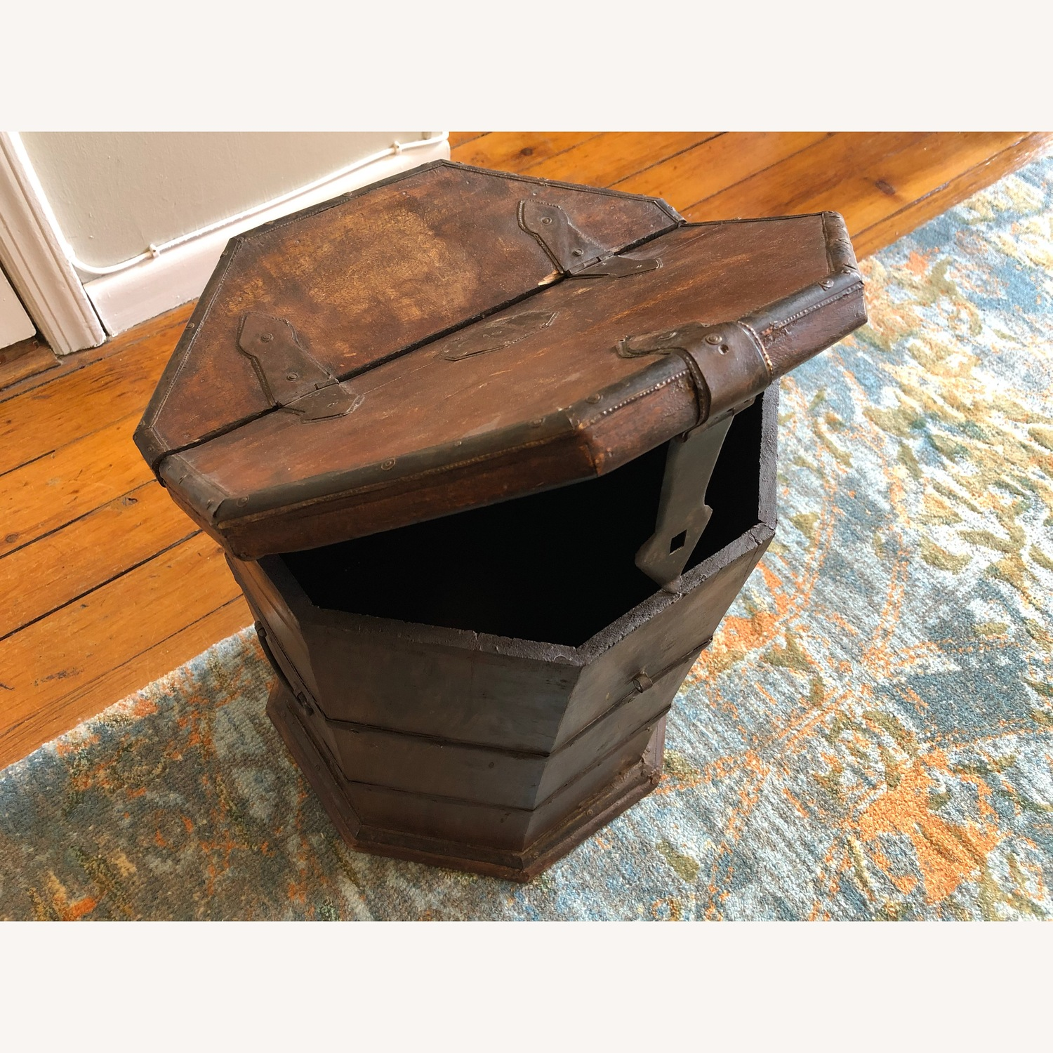 Vintage Octagonal Side Table Trunk with Storage - image-2