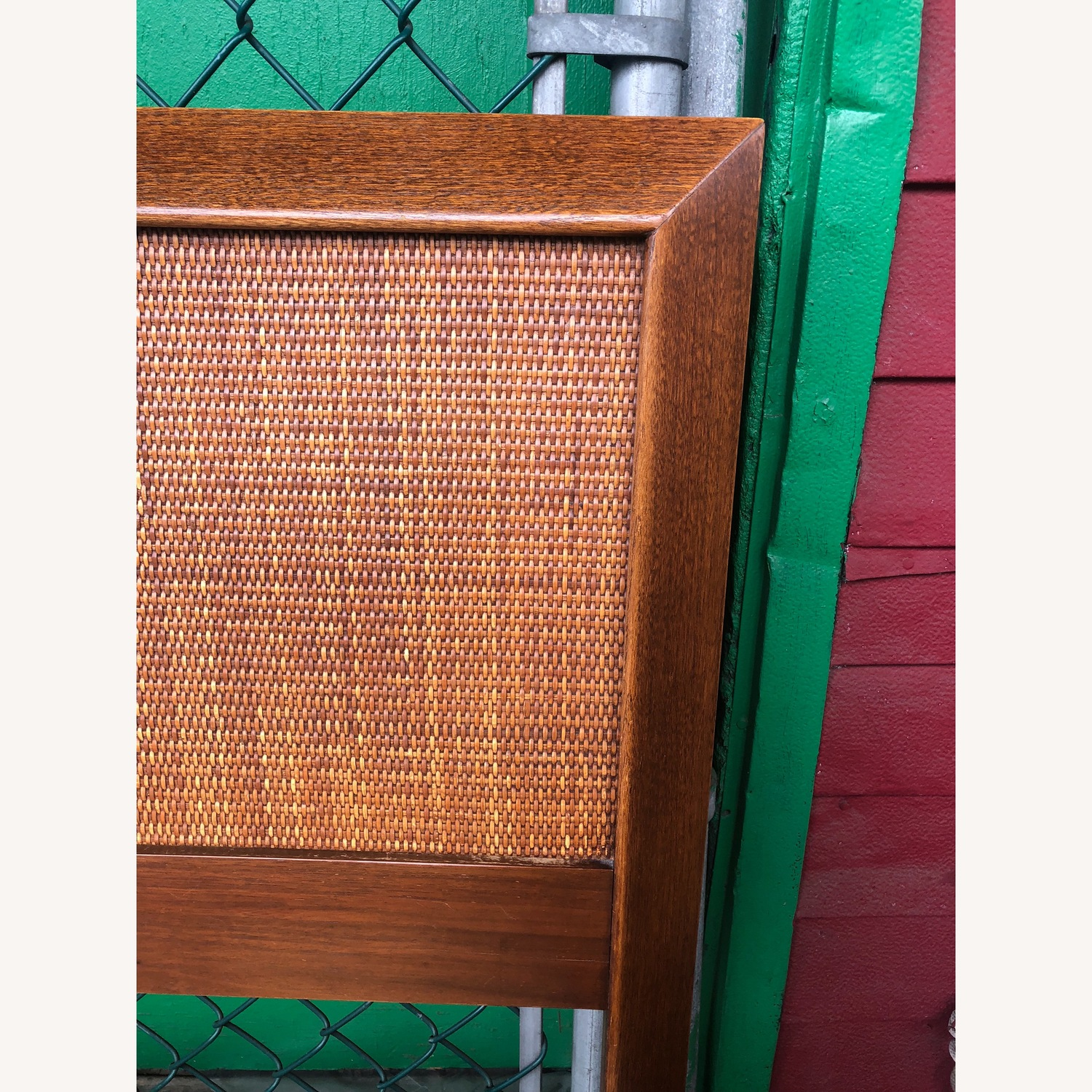 Mid Century Modern king Headboard with Caning - image-3