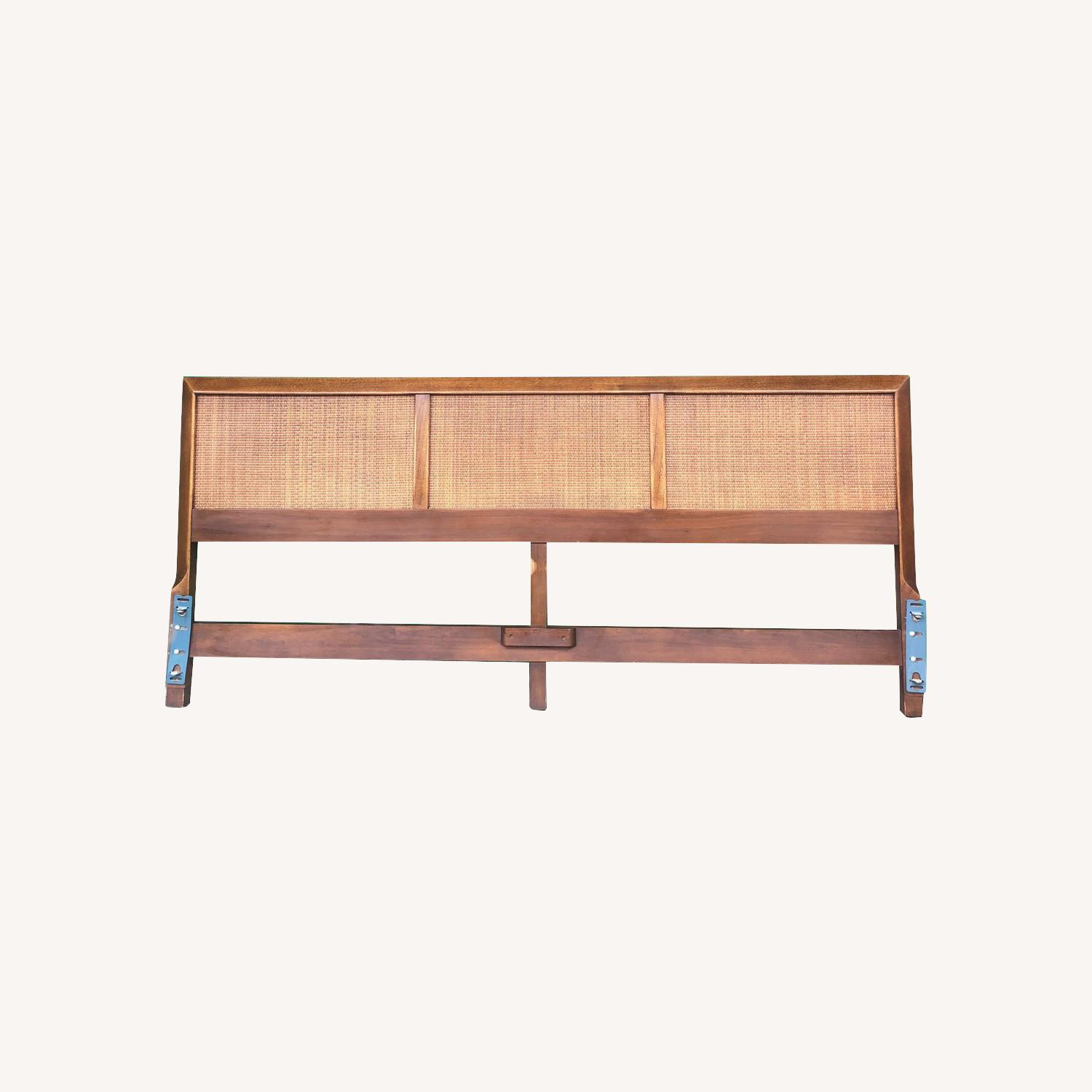 Mid Century Modern king Headboard with Caning - image-0