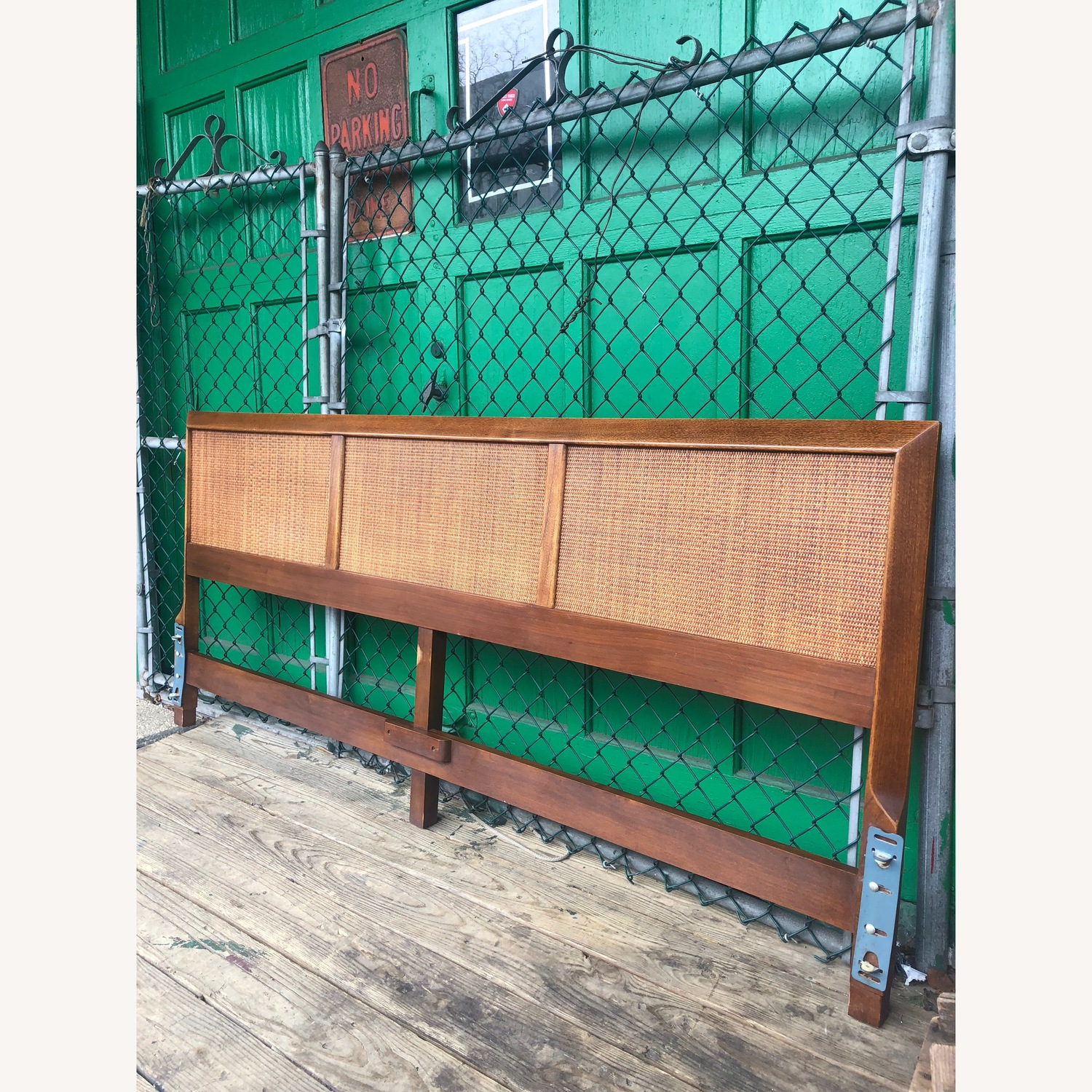 Mid Century Modern king Headboard with Caning - image-2