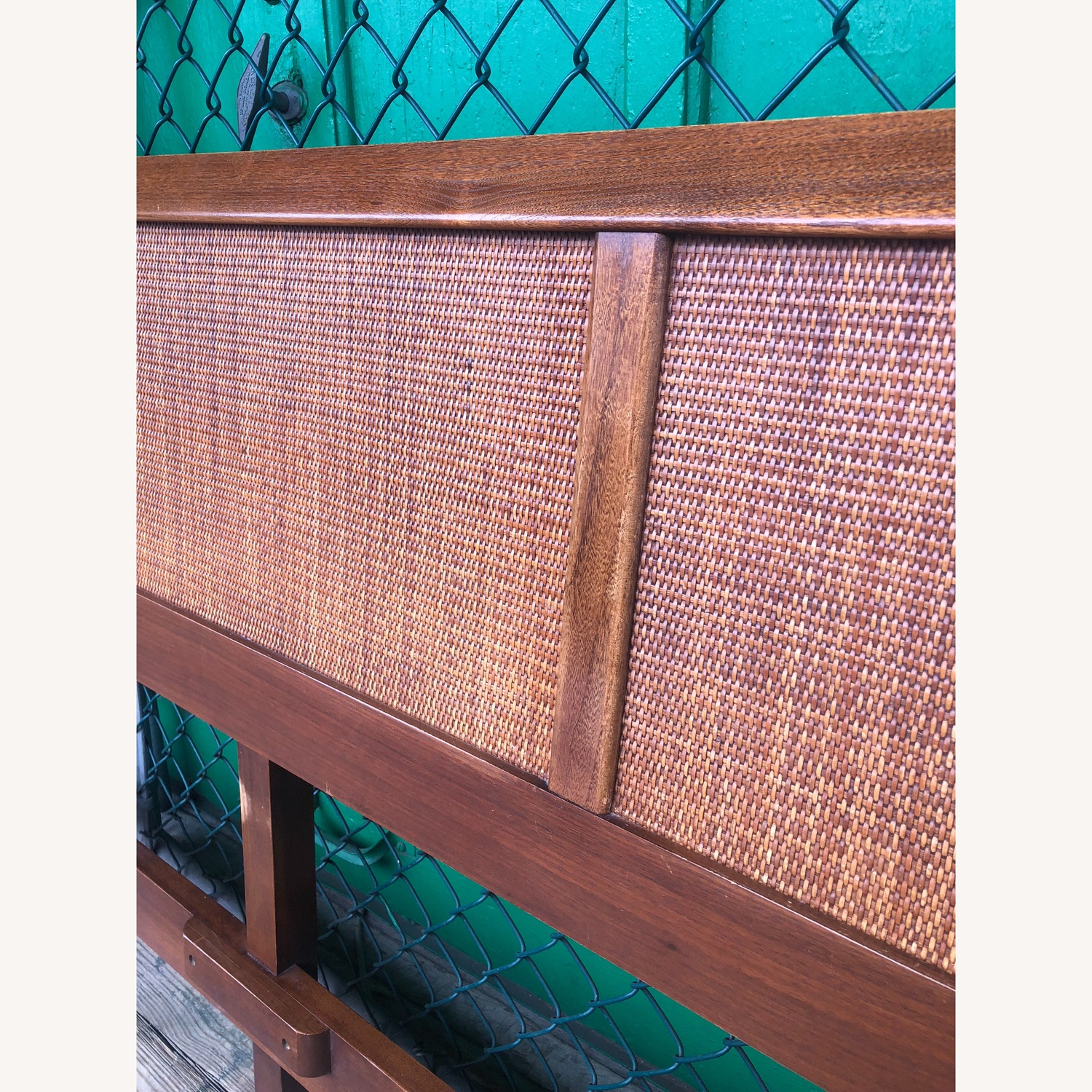 Mid Century Modern king Headboard with Caning - image-6