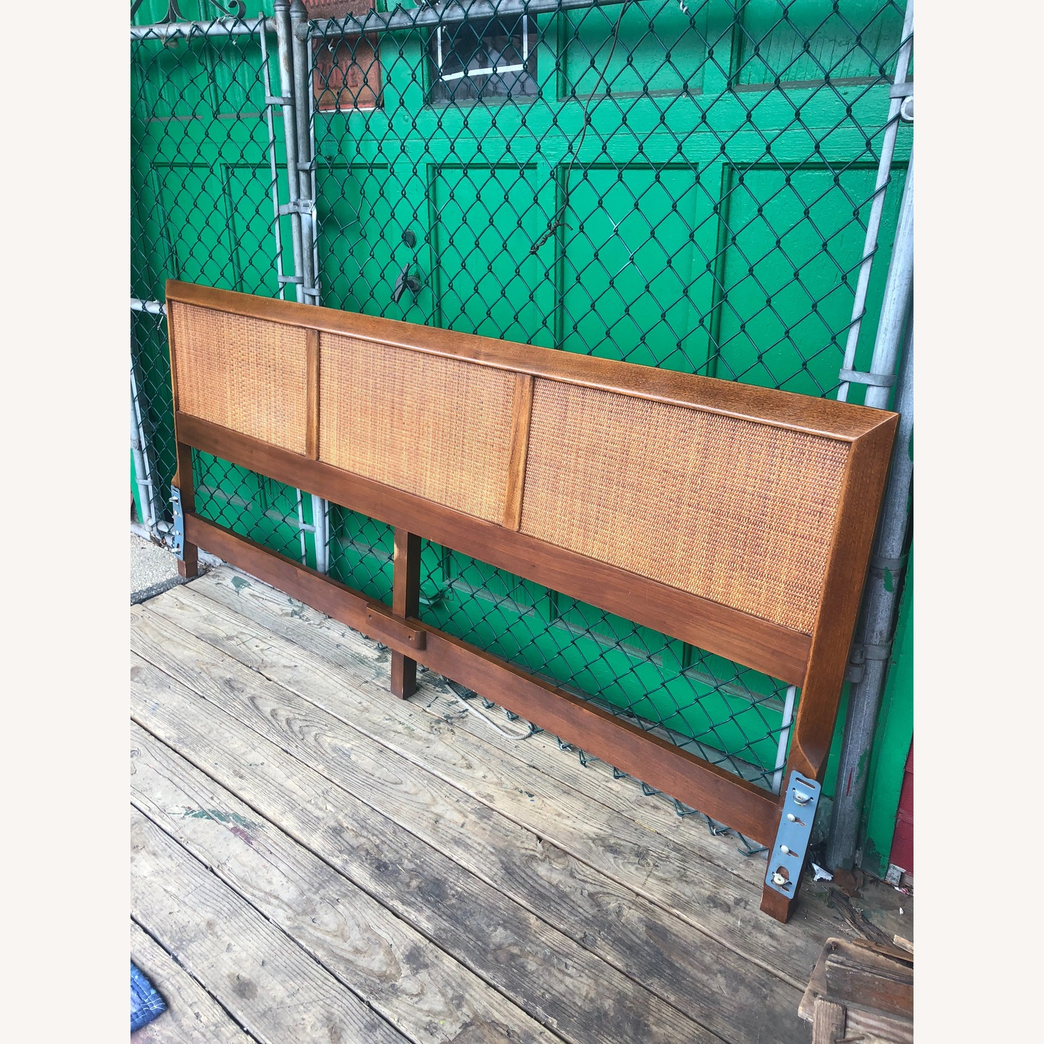 Mid Century Modern king Headboard with Caning - image-5