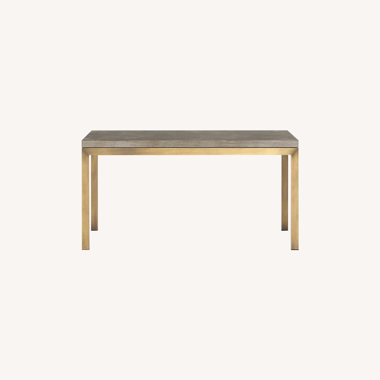 Crate & Barrel Parsons Concrete/ Brass Table - image-0