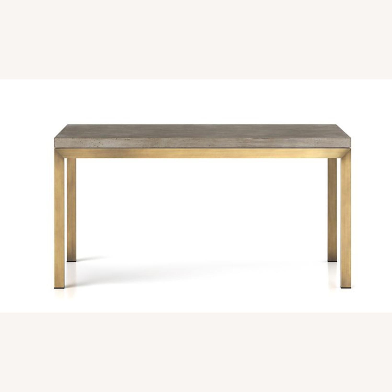 Crate & Barrel Parsons Concrete/ Brass Table - image-1