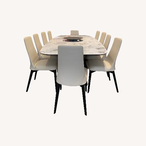 Used Calligaris Icaro White Marble Table and Etoile Chairs for sale on AptDeco