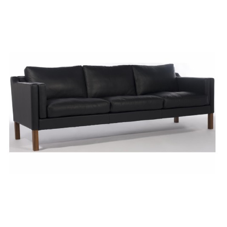 Borge Mogensen style Black Leather Sofa - image-7