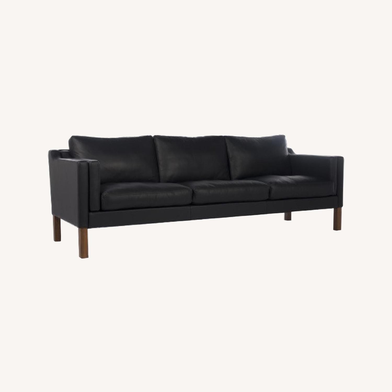 Borge Mogensen style Black Leather Sofa - image-0