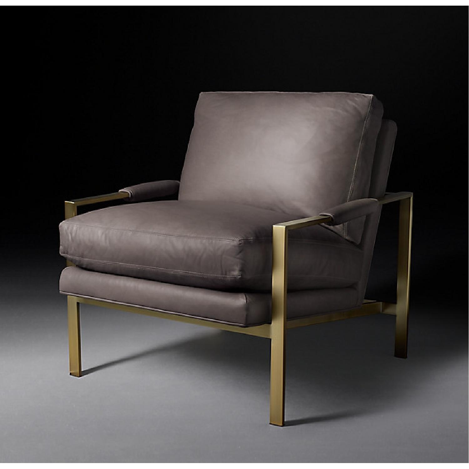 Restoration Hardware Satin Brass Armchair (Set of 2) - image-8