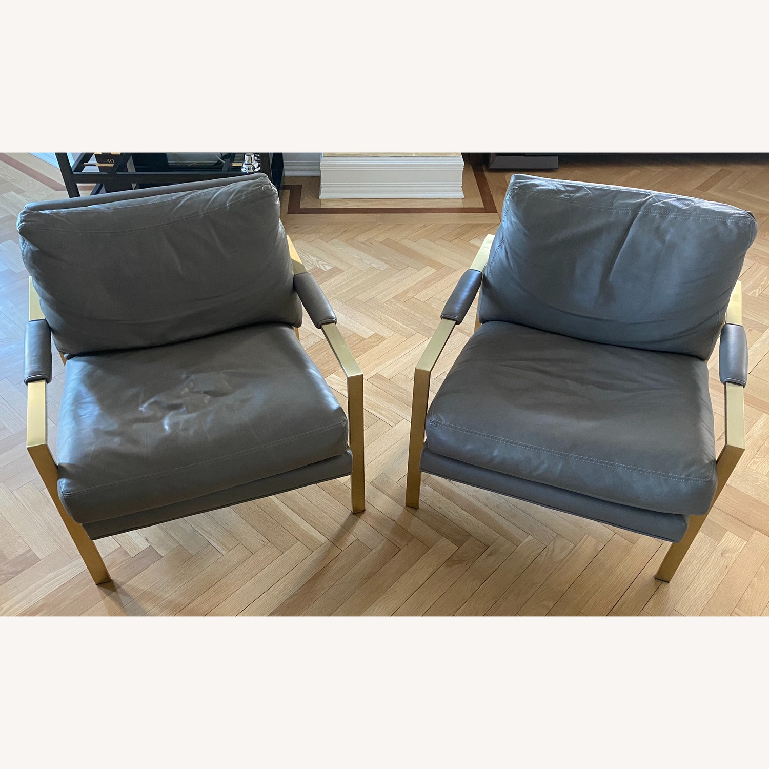 Restoration Hardware Satin Brass Armchair (Set of 2) - image-1