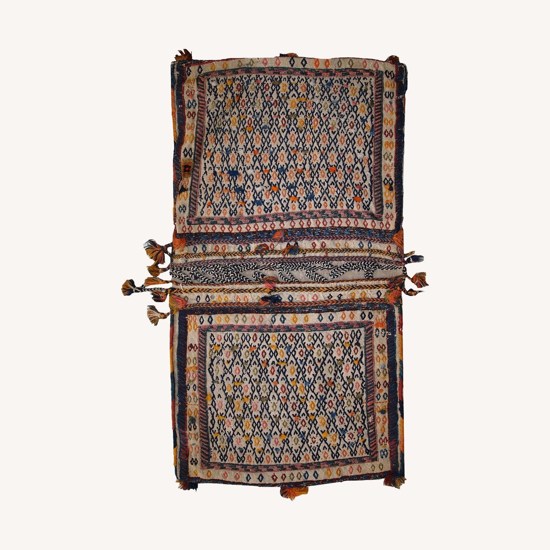 Handmade Antique Persian Sumak Sadle Double Bag - image-0