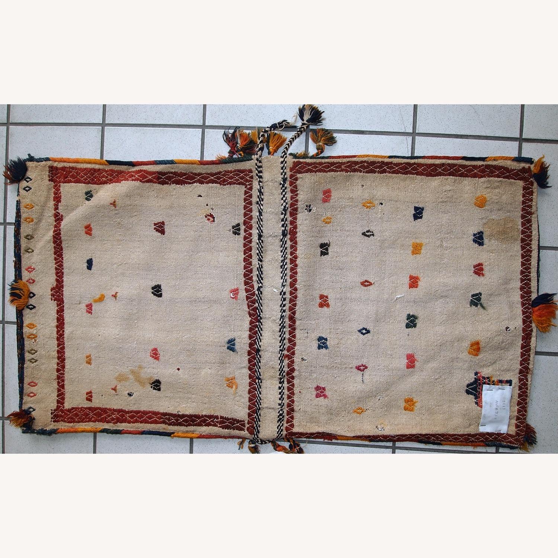 Handmade Antique Persian Sumak Sadle Double Bag - image-8