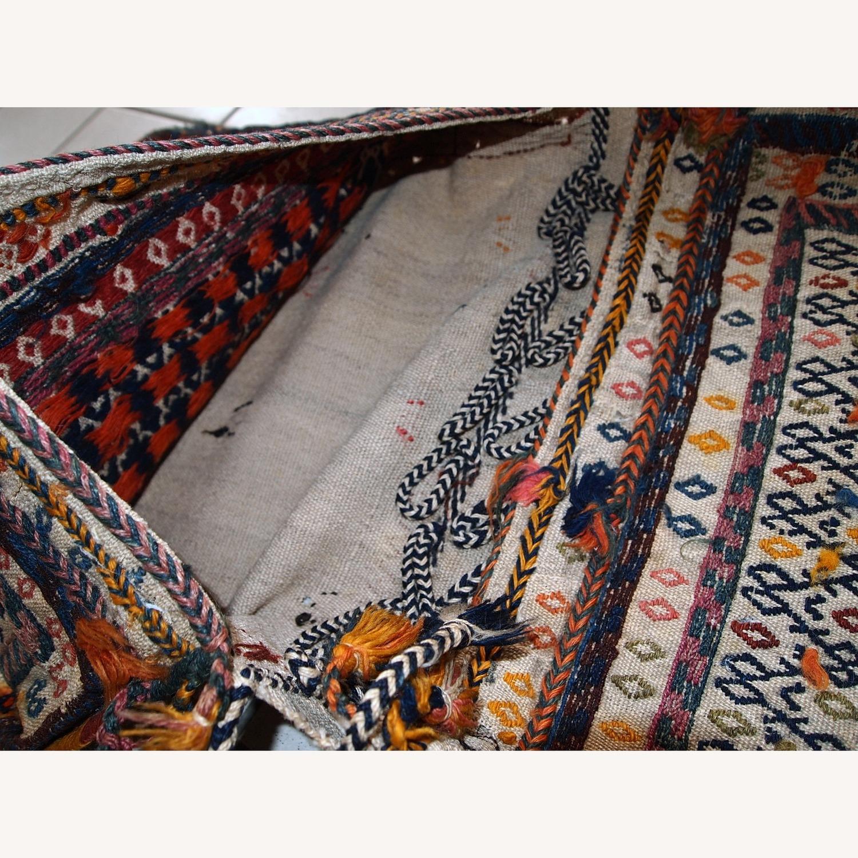 Handmade Antique Persian Sumak Sadle Double Bag - image-6