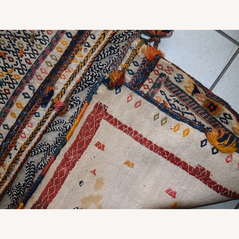 Handmade Antique Persian Sumak Sadle Double Bag - image-12