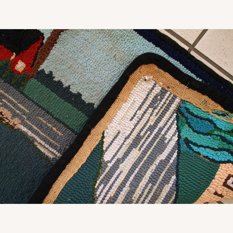 Handmade Vintage American Hooked Rug - image-6