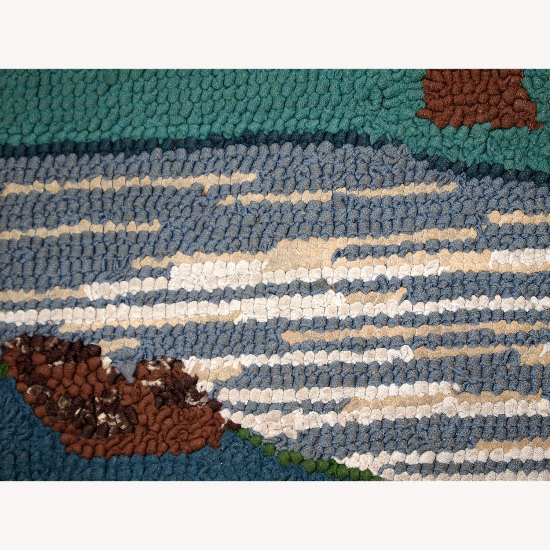 Handmade Vintage American Hooked Rug - image-11