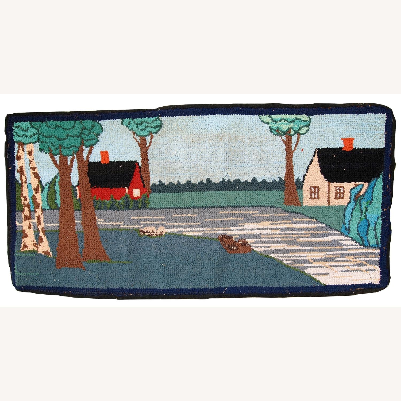 Handmade Vintage American Hooked Rug - image-1