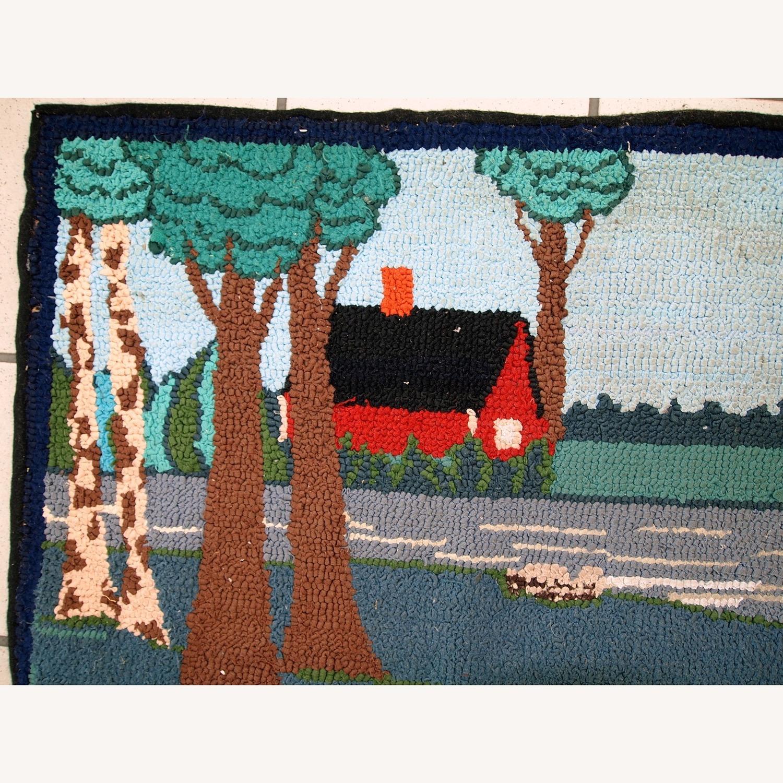 Handmade Vintage American Hooked Rug - image-12