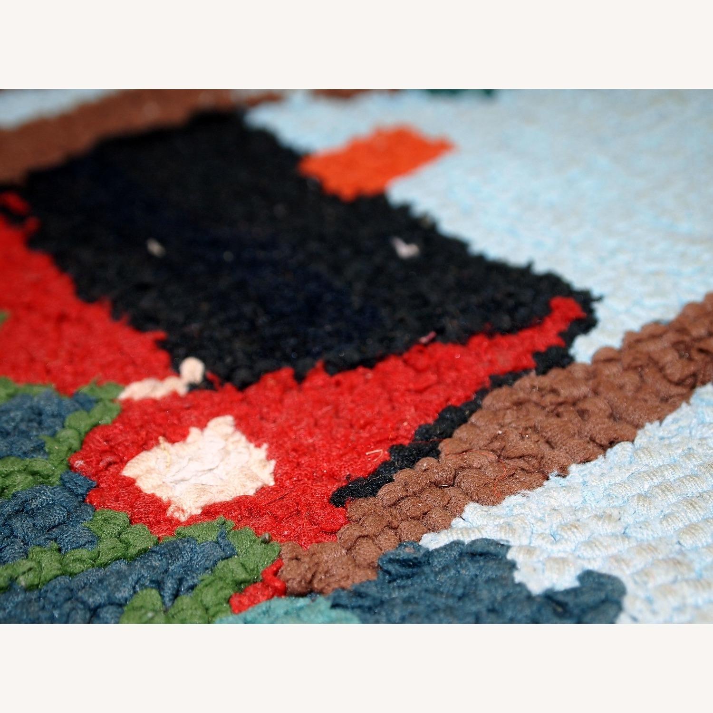 Handmade Vintage American Hooked Rug - image-4